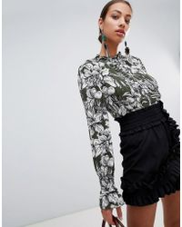 AX Paris Printed Long Sleeve Blouse With Frill Detail - Green