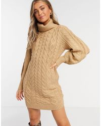 Brave Soul Zincon Cable-knit Jumper Dress With Balloon Sleeves-tan - Natural