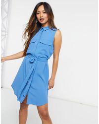 Monki Vestito camicia blu senza maniche