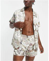 ASOS Co-ord Satin Shirt And Shorts Pyjama Set With Map Print - Multicolour