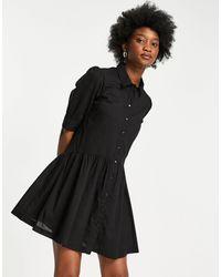 Pimkie Button Front Smock Mini Poplin Dress - Black