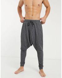 ASOS Lounge-Schlafanzughose mit tiefem Schritt - Schwarz