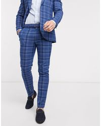 TOPMAN Skinny Fit Checked Suit Pants - Blue