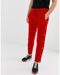 ASOS - Skinny joggers With Side Poppers And Piping In Red Velour - Lyst