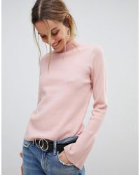 Pieces - High Neck Jumper With Fluted Sleeve - Lyst