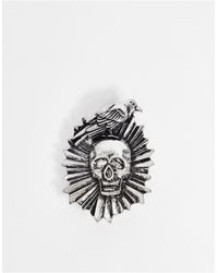 ASOS Brooch With Skull And Crow Design - Metallic