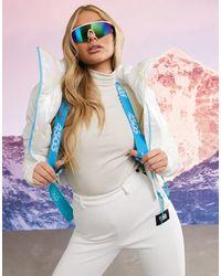 ASOS 4505 Ski Metallic Funnel Neck Ski Crop Jacket With Belt - Multicolour