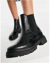 Schuh - Кожаные Ботинки Челси Черного Цвета С Эффектом Рельефной Крокодиловой Кожи Arlo-голубой - Lyst