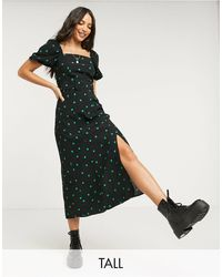 New Look Puff Sleeve Midi Dress With Square Neck - Black