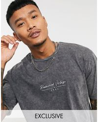 Reclaimed (vintage) Inspired - t-shirt oversize squadrata con logo slavato - Grigio