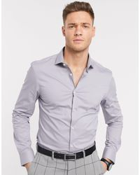 Moss Bros Moss London - Chemise coupe slim - Gris