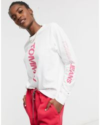 Tommy Hilfiger Logo Long Sleeve Top - White