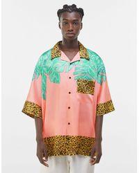 Bershka Розовая Oversized-рубашка С Принтом «paradise» На Спине -розовый Цвет