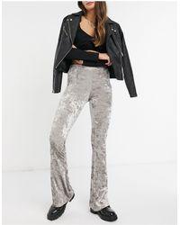 TOPSHOP Velvet Flared Pants - Metallic