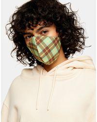TOPSHOP Masque en tissu - Carreaux verts - Multicolore