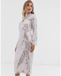 Lipsy Midi-jurk Met Lange Mouwen En Lovertjes In Zilver - Metallic