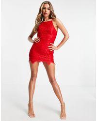 AX Paris Vestido rojo con sobrefalda en encaje