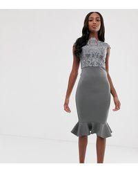 Chi Chi London - Lace Midi Dress With Peplum Hem In Charcoal Grey - Lyst