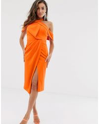 ASOS Halter Drape Bodycon Midi Dress - Orange
