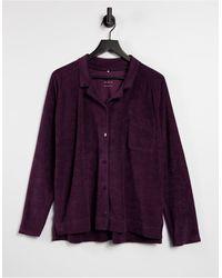 ASOS 4505 Oversized-рубашка Из Махровой Ткани На Пуговицах -сиреневый - Пурпурный