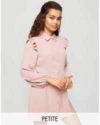 Miss Selfridge Robe chemise avec détail volants - Rose
