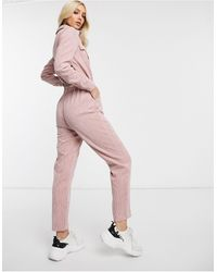 Missguided – Utility-Jumpsuit aus Cord - Pink