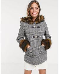 Miss Selfridge - Petite Grey Check Print Duffle Coat - Lyst