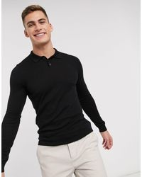 ASOS Muscle Fit Knitted Polo Shirt - Black