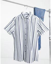 TOPMAN - Camicia a righe blu navy - Lyst