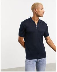 Celio* Polo blu navy con zip corta