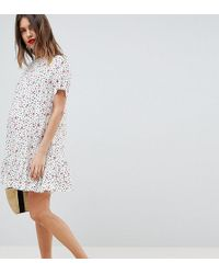 ASOS - Asos Design Maternity Drop Waist Mini Dress With Pep Hem In Mono Floral Print - Lyst