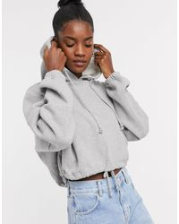 TOPSHOP Hoody With Drawstring Waist - Gray