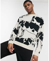 ASOS Knitted Oversized Sweater With Cow Design - Multicolor