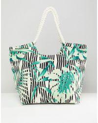 South Beach - Palm Print Beach Bag - Lyst