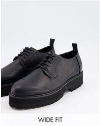 ASOS - Черные Туфли Из Искусственной Кожи Для Широкой Стопы На Шнуровке И Массивной Подошве - Lyst
