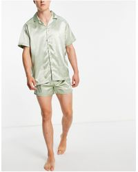 ASOS – pyjama-set aus satin - Grün
