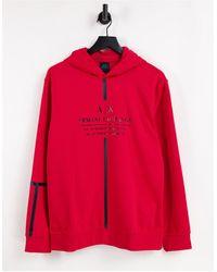 Armani Exchange Худи Красного Цвета Без Застежки С Логотипом И Лентой Спереди -красный