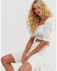 & Other Stories Puff Sleeve Cotton Crop Top In White