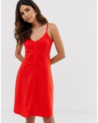 Vero Moda - Cami Mini-jurk Met Knopen - Lyst