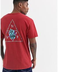 Huf - Dystopia Triple Triangle T-shirt With Floral Back Print In Red - Lyst