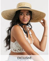 South Beach Exclusive Oversized Boater Hat With Changeable Bands - Natural