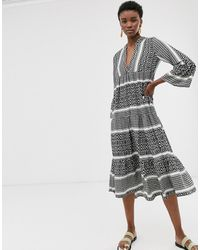 ONLY Printed Smock Midi Dress - Multicolour