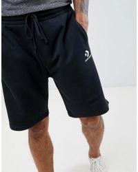 Converse Pantalones cortos de punto con logo en negro 10008817-A01