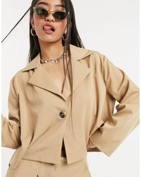 Native Youth Cropped Boxy Blazer Co-ord - Natural