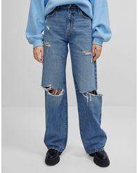 Bershka Jeans anni '90 lavaggio blu medio con strappi
