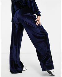 Fashionkilla Эксклюзивные Велюровые Штаны Широкого Кроя Темно-синего Цвета (от Комплекта)-голубой - Синий
