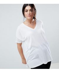 ASOS - Asos Design Curve Oversized Longline T-shirt With V-neck In Lightweight Rib - Lyst
