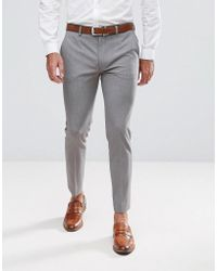 698d78ec2d Pantaloni cropped eleganti super skinny grigio medio