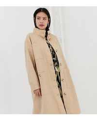 Monki Midi Lightweight Coat With Oversized Pockets - Natural