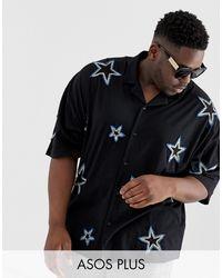 ASOS – Oversized-Hemd aus Jersey mit All-over-Verzierung mit Sternen - Schwarz